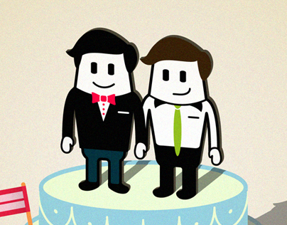 Two guys on a cake