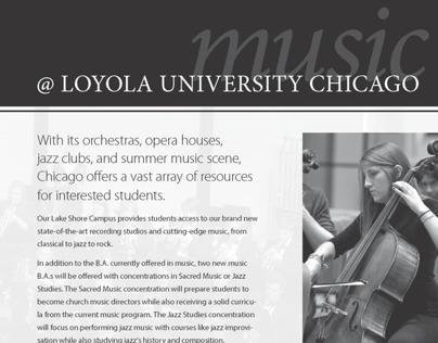 Loyola University Music Advertisement