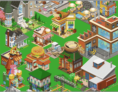 Isometric game art for City Friends