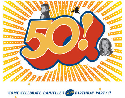 Danielles 50th Birthday / invitation and wine label