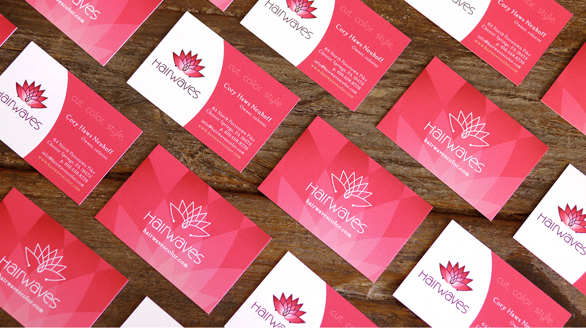 HairWaves Salon Rebrand, Collateral and Website Design