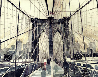 watercolors of famous bridges