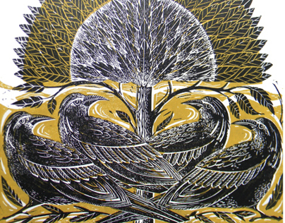 Four Crows Lino Cut Print