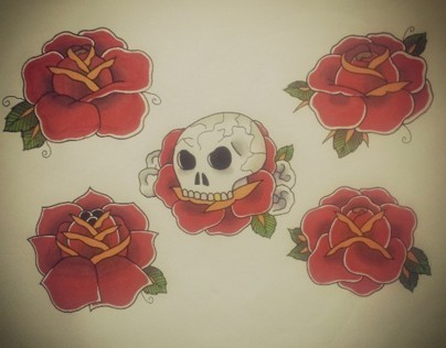 Roses & Skull Tattoo Flash