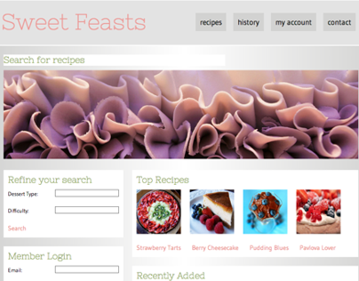 Sweet Feasts Website Mockup