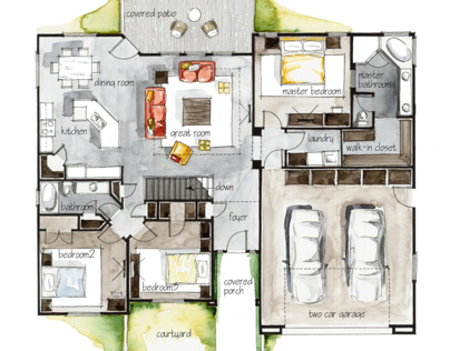 Real Estate Color Floor Plan and Elevation 4