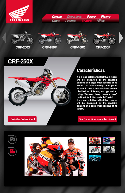 Pestañas Facebook - Honda Motos