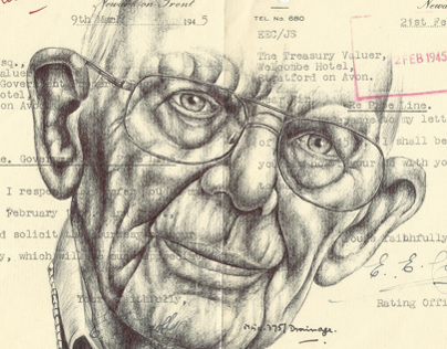 Bic Biro drawing on 1945 government documents