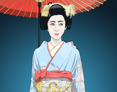 Japanese Geisha Illustration