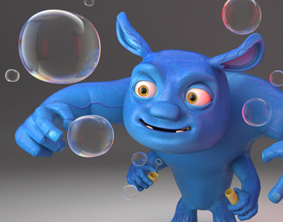 Bunbun - 3d cartoon friendly alien character.