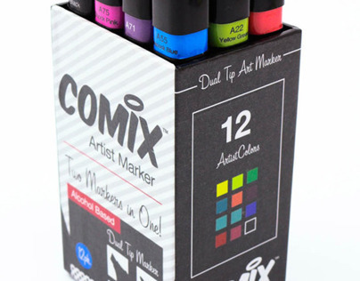 Comix Dual Tip Marker Set, Branding / Package Design
