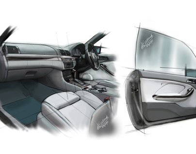 BMW 330ci convertable interior design for TV show