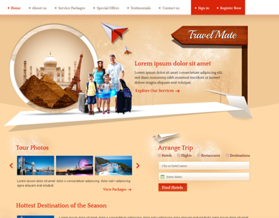 Sample Website for Travel and Tourism Company