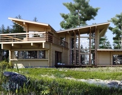 Wooden house in a pine forest