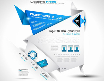 Vector folding paper website design template