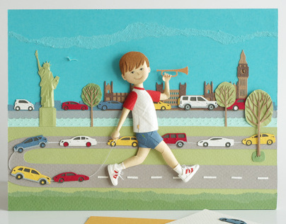 Boy and cars