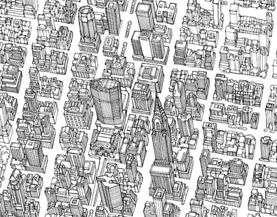 Birds Eye View Map of Manhattan for GCP Annual Report