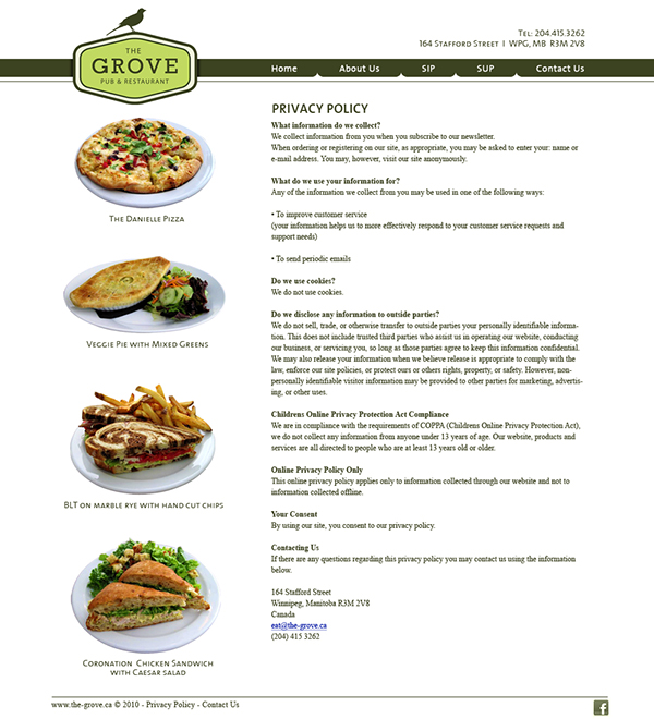 The Grove Restaurant & Bar Website