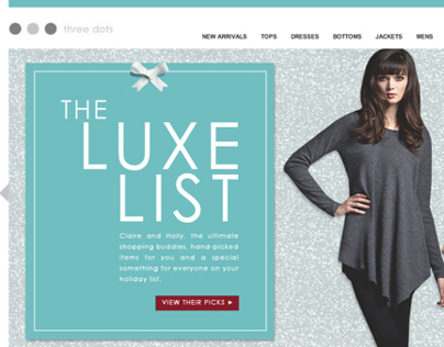 Three Dots Holiday Luxe List Campaign