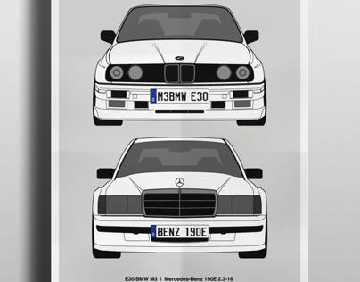 E30 BMW M3 |vs| Mercedes-Benz 190E 2.3-16 Poster