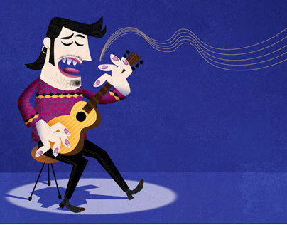 Blues Guitarist Cartoon Illustration