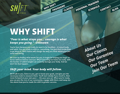 Shift Fitness Website Concept