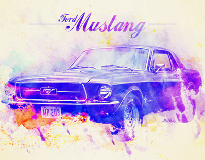 Mustang Watercolor