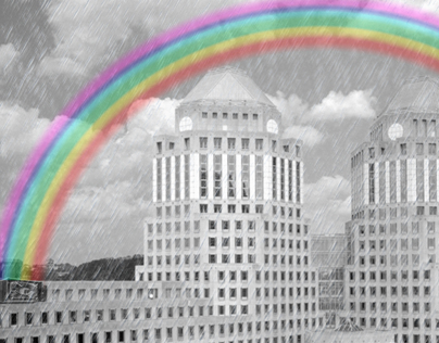 P&G rainbow building