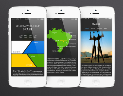2014 Brazil world cup app UI
