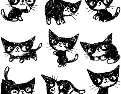 Nine poses-of kitten