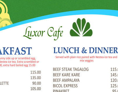 Luxur Cafe Food Menu Layout