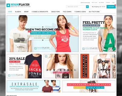 Highplaces, Magento Retina Apparel Clothing Theme