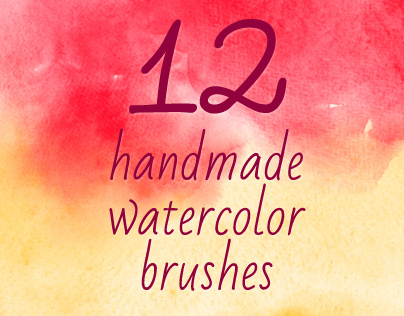 12 Handmade Watercolor Photoshop Brushes