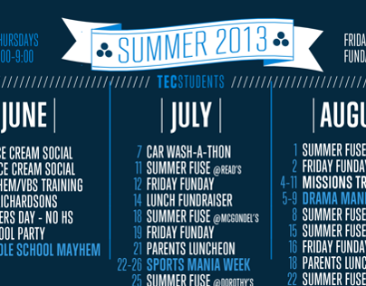 2013 Youth Group Summer Calendar