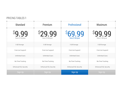 ProWay - Free Pricing Table (PSD)
