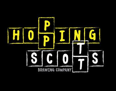 Hopping Scotts logo and beer bottle labels
