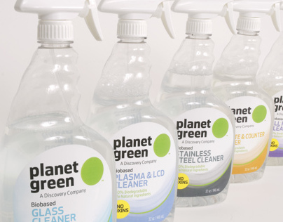 Planet Green cleaning product bottle labels
