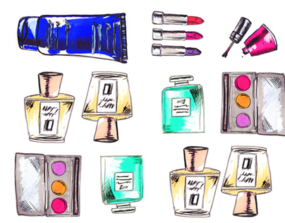 Cosmetics Illustrations – Mixed Media