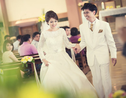 Wedding in Church Angkana and Uthai