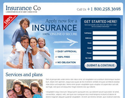 Medical and life insurance quote landing page designs