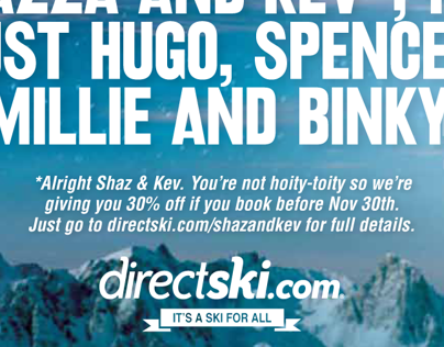 Direct Ski 2012 - Shazza and Kev 30% off Campaign
