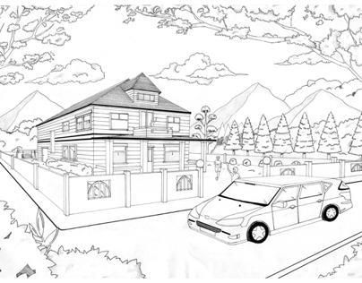 Bungalow Perspective Drawing