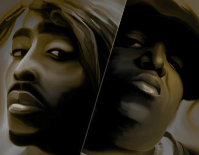 Hip Hop Legends - Tupac & Biggie - Digital Painting
