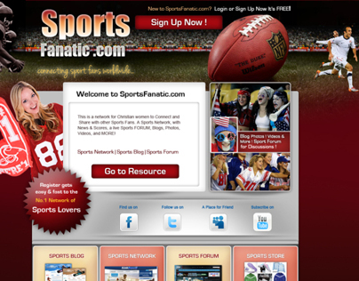 Sports Fans Social Network Landing Page/ Website