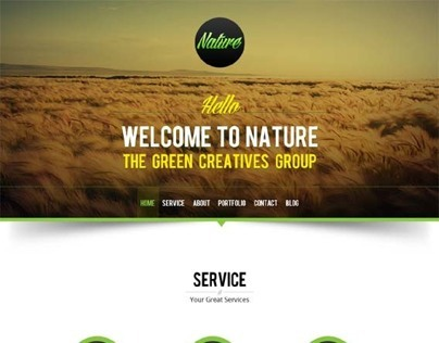 Nature, WordPress Green One Page Theme