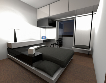 A bedroom for a teenager with only b&w colors