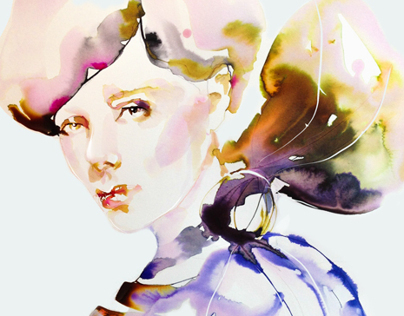Fashion Illustration in Watercolor & Bow Series