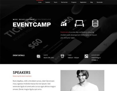 Eventcamp, WordPress Retina Marketing Theme