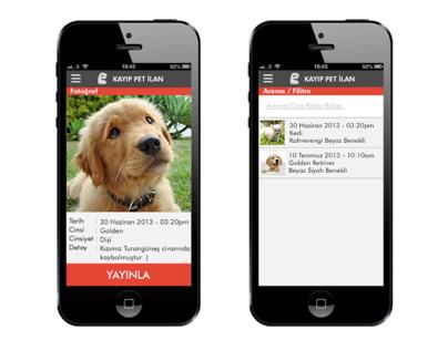 Mobile App UI (Lost Pet Ad)