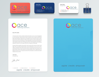 ace training solutions branding. aspire create  empower